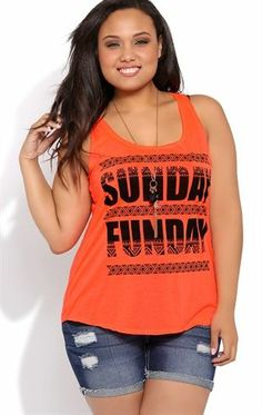 Deb Shops Plus Size Racerback Tunic Tank with Sunday Funday Screen $15.00