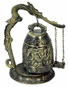 Oriental Furniture Buddhist Art Gift Ideas, 5-Inch Chinese Dragon Gong with Ringer and Lotus Pediment $26.98
