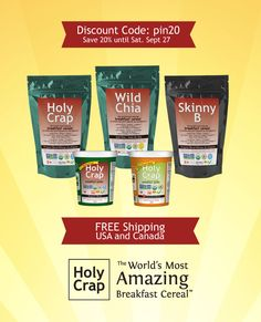 20% off on Chia seeds. Free Shipping. Try some of these amazing chia recipes. Use discount code: pin20 until midnight (PDT) Saturday, Sept 27, 2014.