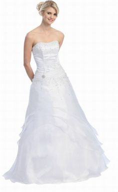 Ball Gown Strapless Formal Prom Dress #581 (6, White) $114.99