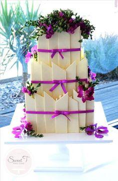 picket fences, pretti chocol, elegant cakes, white chocolate, chocol shard, shard cake, wedding cakes, chocolate cakes, flower