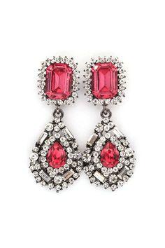 Delphine Crystal Earrings in Raspberry on Emma Stine Limited