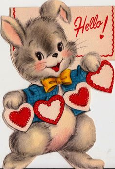 Vintage 1950s Hallmark Rabbit Valentines Greetings Card (B7).