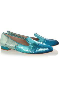 Miu Miu | Dégradé sequined slippers | NET-A-PORTER.COM