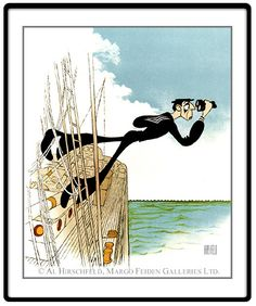 """The Navigator - Color Edition  Buster Keaton:  Hand signed by Al Hirschfeld  Limited-Edition Lithograph  Edition Size: 100.  22"""" x 17-1/4"""""""