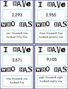 I have Who has with thousands numbers in standard form and word form - This will be a fun way for my students to review before our math test.