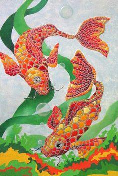 Fish mosaic made from linoleum scraps, by Irina Kovalenko