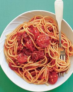 Spaghetti with Three-Tomato Sauce Recipe | Cooking | How To | Martha Stewart Recipes