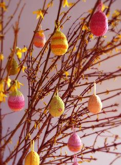 Knitted Easter Eggs.  If only I could knit that well.