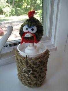 DIY Soap Dispenser made from yogurt cups, etc....IDEA:crochet around glass soap dispenser