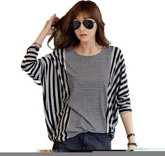 Superbaby Women Loose Batwing Sleeve Stripe Patchwork Blouse T Shirt Pullover