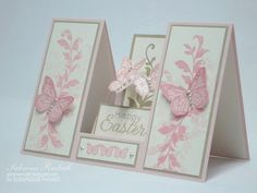 handmade Easter card: Double Sided Step Card ... pink and cream ...