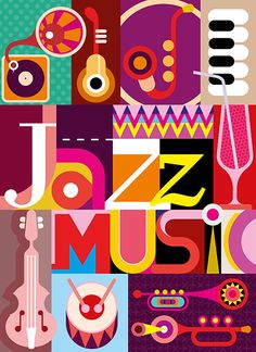 Jazz. Musical collage - vector illustration with musical instruments and inscription