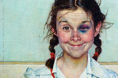 A'Girl With Black Eye' Cover of Saturday Evening Post, 5/1953 Oil on canvas, 34x30 inches Norman Rockwell