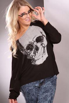 Black Silver Wide Neckline Long Sleeves Skull Print Rhinestone Decor Sweater @ Amiclubwear Clothing,sexy club wear,women's party wear,sexy clothes,evening dress,v neck sweater dress,mini sweater dress,cashmere sweater set,women's turtleneck sweaters,short