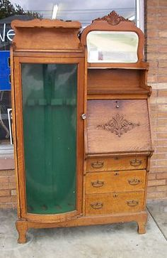 Antique Oak Side by Side Curio Cabinet..   !!  Would like to find one with all drawers on right side.