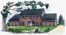 Traditionally elegant 4 bedroom Colonial style home.  Colonial House Plan # 201110.
