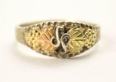 Vintage Leaf Ring Sterling Silver Black Hills Gold Diamond Cut Two Leaf Ring. $45.00, via Etsy. @Thepickingpair
