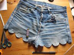 DIY scalloped denim shorts