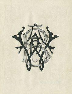 type, vintage, monogram