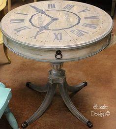"""Antique Clock"" painted drum table"