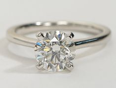 Petite Solitaire Engagement Ring in 14k White Gold | #Engagement #Wedding #Ring