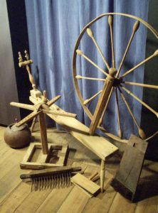 Rare tall spinning wheel found in Louisiana and an assortment of spinning tools. To be sold at Neal Auction, New Orleans, LA—Nov 17–19, 2017.