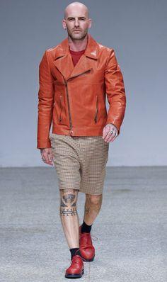 Umit Benan - orange motorcycle jacket rocks---Would love to rock this!