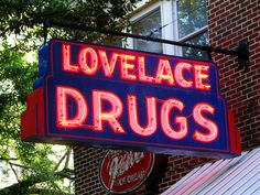 Lovelace Drugs neon sign - Ocean Springs, MS