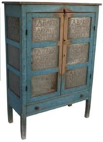 """Bakerton KY. original blue painted 12 tin  Pie Safe, with hand punched tins, in the form of a sampler J.A. Baker Bakerton, KY. located in Cumberland County, KY. circa 1850  the case and doors are mortised and pegged all original measurements are: 18"""" deep x 42 3/4"""" wide x 60"""" tall x  60"""" tall"""