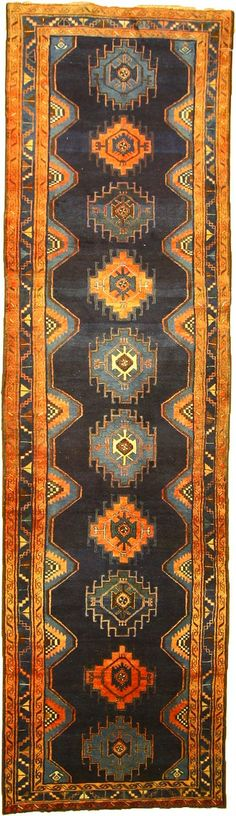 Navy Blue 3' 8 x 13' 1 Saveh Persian Rug