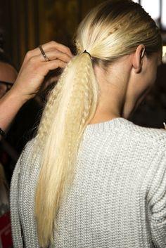 Crimped Ponytails at Stella McCartney S/S 2015 #hair #backstage #ponytail