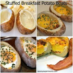 Stuffed Breakfast Potato Boats- stuff with anything you want and an egg! Savory Experiments #breakfastrecipes