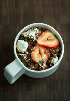 lentils with shallots goat cheese and strawberries