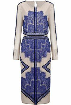 Blue Long Sleeve Contrast PU Leather Lace Split Dress