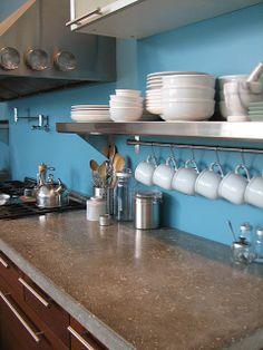 DIY Concrete countertops, also love the cup storage