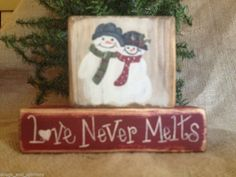 Primitive Country Snowmen Snowman Love Never Melts Shelf Sitter Wood Blocks Set #PrimitiveSnowman