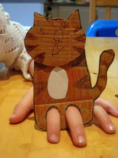 Finger puppets made from cardboard. Very easy, cool, and fun. Imaginative too.    #kidscrafts #kids #play #children