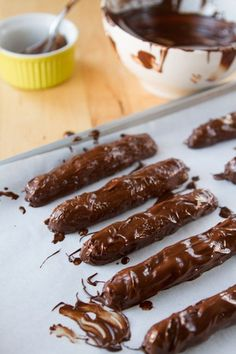 Copycat Chocolate Twix bars! Click for the recipe: http://chocolatecoveredkatie.com/2013/01/11/healthy-twix-bars/