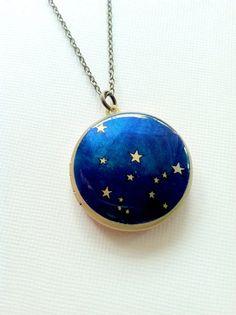 Aquarius Constellation Astrology Round Brass Locket by Locketfox