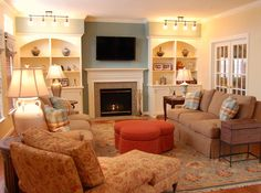 Family Room Design...storage, color, pattern