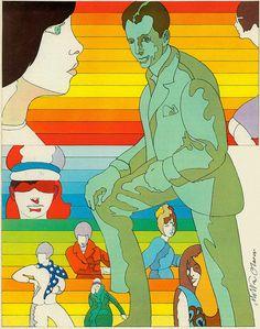 """Telegram from Mister Smooth"" (1966) // Illustration by Milton Glaser for Seventeen magazine"