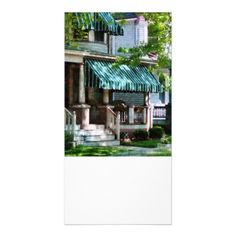 House With Green Striped Awning Photo Greeting Card