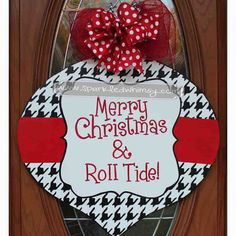 Houndstooth Christmas Ornament Door Hanger Sign by Sparkled Whimsy