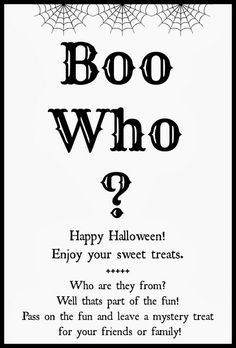 Boo Who? Printable. Great gift idea for friends, family & neighbors! | R & R Workshop