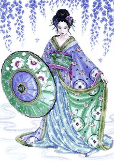 "Free cross-stitch design ""Blue Geisha"""