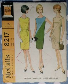 Rare 1966 Misses' Sleeveless Dress in Three Versions