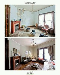 (Small, white crown molding...) Rehab addict - Case Ave living room. Before/ after by Ariel Photography