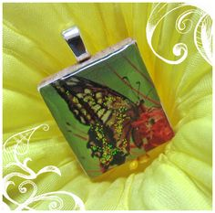 """Beautiful butterfly scrabble tile pendant from our set """"Lovely Butterflies"""" - Mango and Lime Design"""