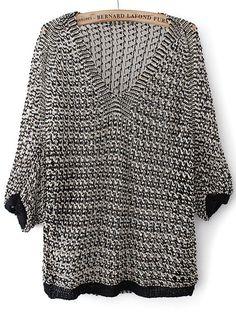 Black V Neck Half Sleeve Hollow Knit Sweater